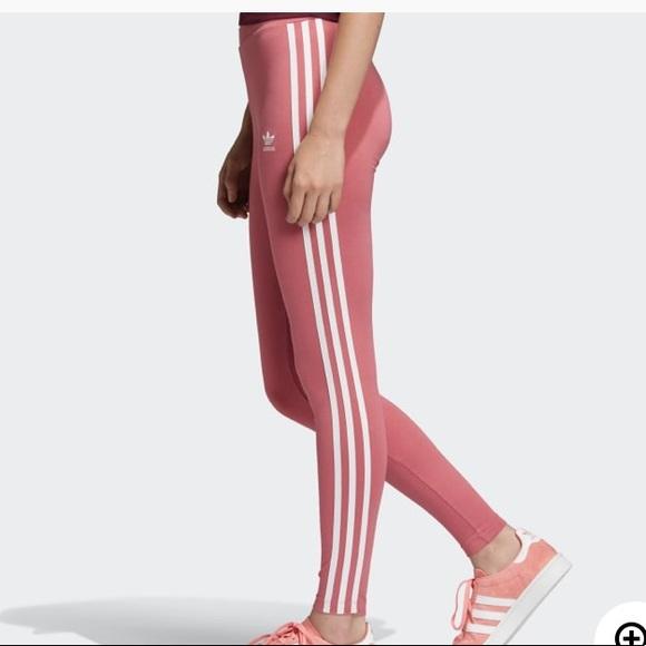b1f6a35bc6e adidas Pants | Womens 3 Stripe Tight Pink Nwt Leggings | Poshmark